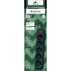 Сетевой фильтр Defender ES5 чёрный, 5 м, 5 розеток (99486)
