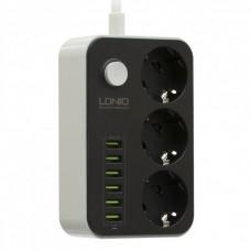 Зарядное устройство - удлинитель LDNIO B-T09 220V (3 розетки+ 6USB)