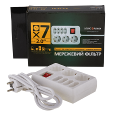Сетевые фильтры опт и розница Сетевой фильтр LogicPower LP-X7, 2m, 7 розеток, белый ⏩ megapower.space ▻▻▻